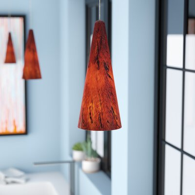 Vauxhall 1-Light RapidJack Pendant and Canopy Finish: Bronze, Shade Color: Amber