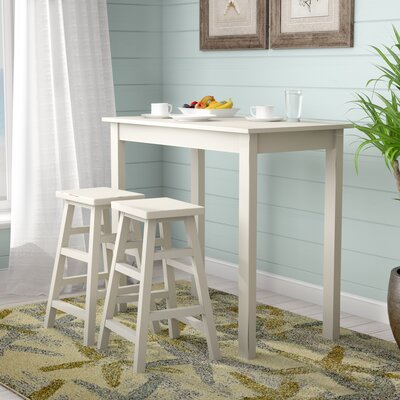 Waquoit 3 Piece Pub Table Set Color: White