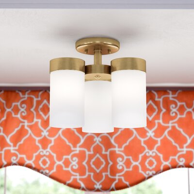 Kieron 3-Light Semi Flush Mount Finish: Brushed Bronze