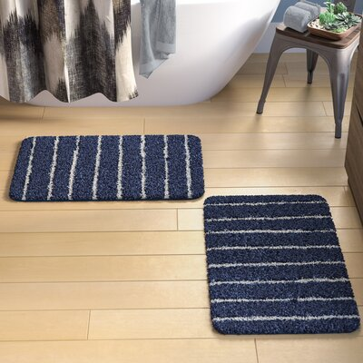 Brazier Memory Foam Bath Rug Color: Navy