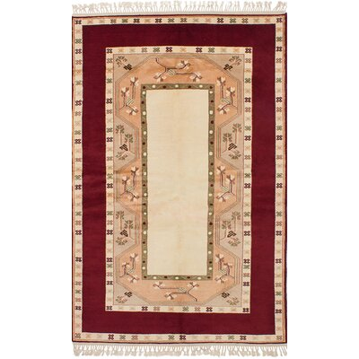 One-of-a-Kind Bettina Hand-Knotted Wool�Cream/Dark Red Area Rug