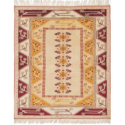 One-of-a-Kind Biddlesden Hand-Knotted Wool�Cream Area Rug