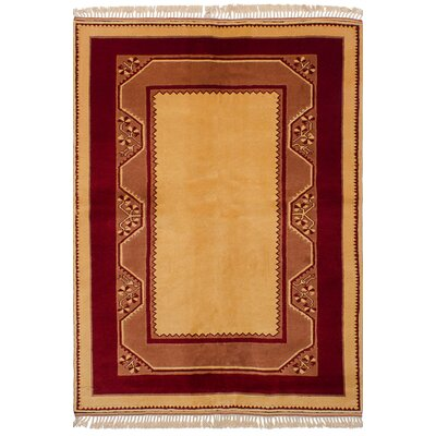 One-of-a-Kind Bettina Hand-Knotted Wool�Dark Red/Light Gold Area Rug
