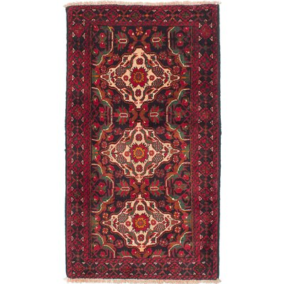 One-of-a-Kind Rivas Hand-Knotted Wool Black/Red Area Rug