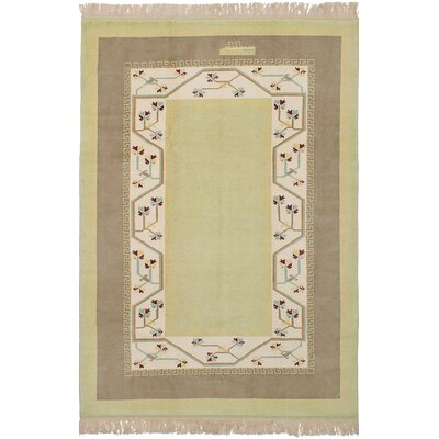One-of-a-Kind Biddlesden Hand-Knotted Wool Light Green Area Rug