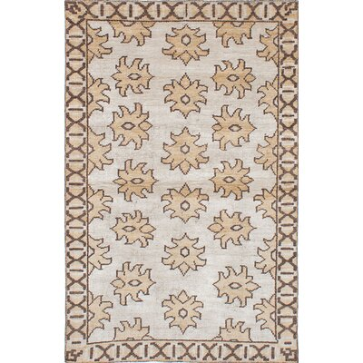 One-of-a-Kind Hickey Hand-Knotted Wool Cream Area Rug