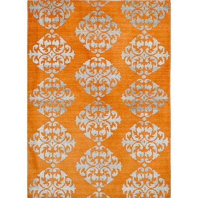 One-of-a-Kind Hickey Hand-Knotted Orange Area Rug