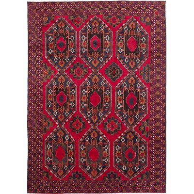 One-of-a-Kind Leslie Hand-Knotted Wool Dark Burgundy Area Rug