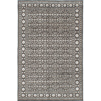 One-of-a-Kind Dellroy Hand-Knotted Wool Dark Gray Area Rug