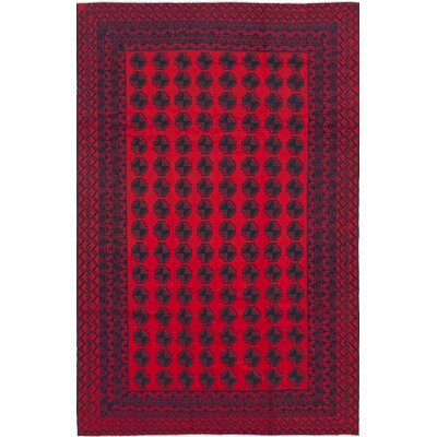 One-of-a-Kind Euler Hand-Knotted Wool Dark Burgundy Area Rug