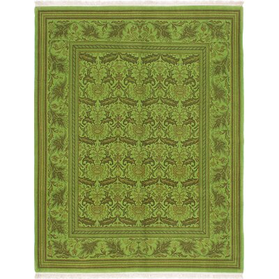 One-of-a-Kind Hallinan Transition Hand-Knotted Wool Emerald Green Area Rug