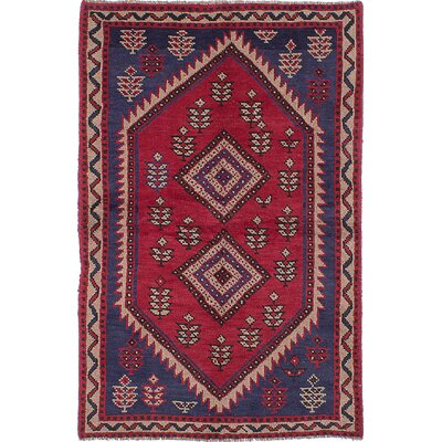 One-of-a-Kind Golub Hand-Knotted Wool Dark Burgundy Area Rug
