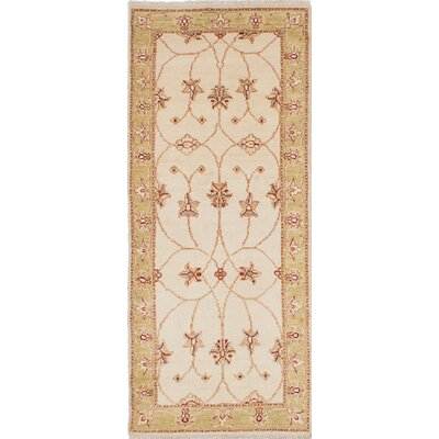 One-of-a-Kind Borchert Hand-Knotted Wool Cream Area Rug