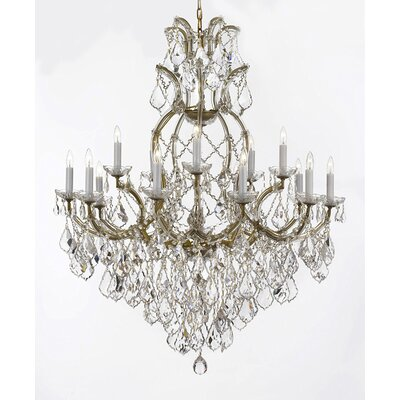 Dacia 16-Light Crystal Chandelier Finish: Gold