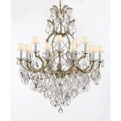 Lazaro 16-Light Crystal Chandelier Finish: Gold