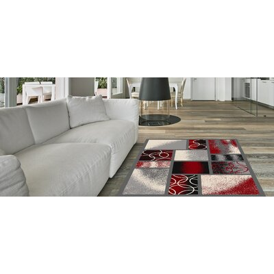 Blandi Frame Boxes Rubber Backed Gray/Red Area Rug Rug Size: Rectangle 33 x 5