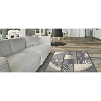 Blandi Frame Boxes Rubber Backed Gray Area Rug Rug Size: Rectangle 5 x 66