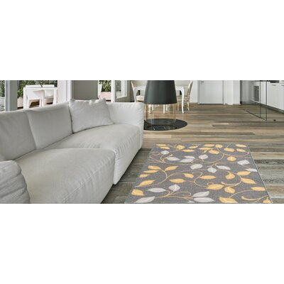 Hinman Floral Rubber Backed Gray Area Rug Rug Size: Runner 110 x 69
