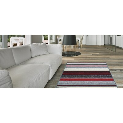 Zlatkus Stripes Rubber Backed Red/Gray Area Rug Rug Size: Rectangle 5 x 66