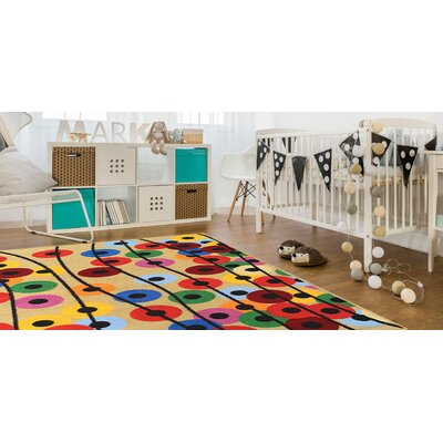 Jessee Polka Dot Balloons Yellow/Red Area Rug Rug Size: Rectangle 5 x 66