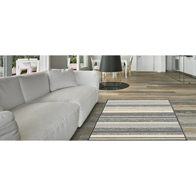 Zlatkus Stripes Rubber Backed Gray Area Rug Rug Size: Rectangle 5 x 66