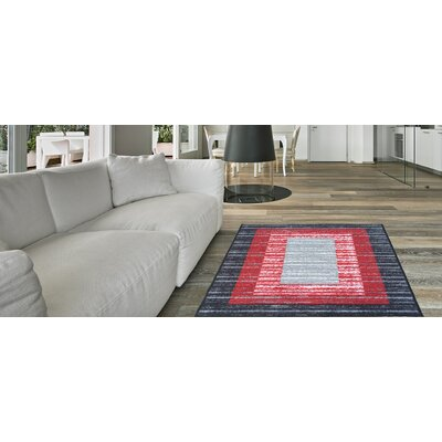Zlatkus Striped Rubber Backed Black/Red Area Rug Rug Size: Runner 18 x 411