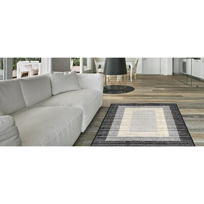 Zlatkus Striped Rubber Backed Black/Gray Area Rug Rug Size: Rectangle 5 x 66