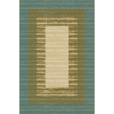 Zlatkus Striped Rubber Backed Blue/Brown Area Rug Rug Size: Rectangle 5 x 66
