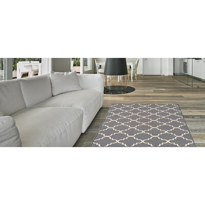 Hinman Moroccan Trellis Rubber Backed Gray Area Rug Rug Size: Rectangle 5 x 66