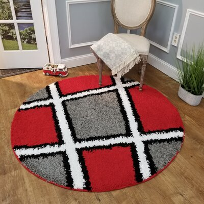 Hannan Tiles Gray/Red Area Rug