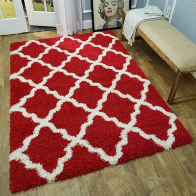 Komar Trellis Red/White Area Rug Rug Size: Rectangle 67 x 93