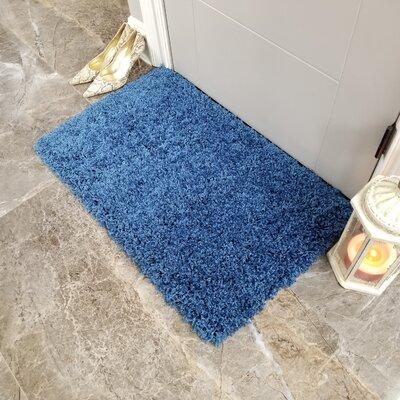 Komar Solid Shag Doormat Color: Navy Blue