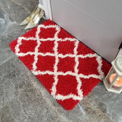 Komar Trellis Shag Doormat Color: Red