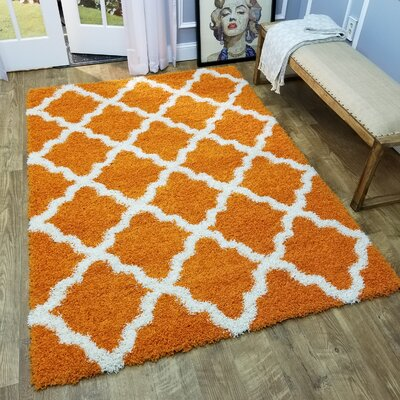 Komar Trellis Orange Area Rug Rug Size: Rectangle 33 x 48