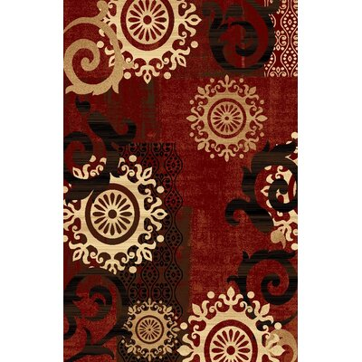 Classen Medallion Burgundy Area Rug Rug Size: Rectangle 53 x 73
