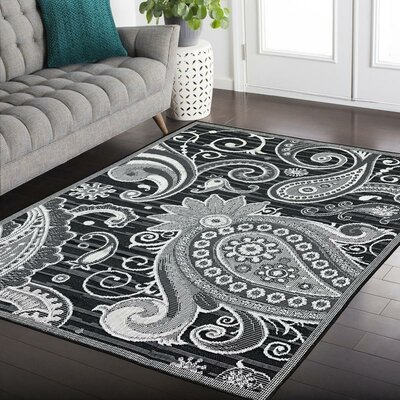 Hinnant Reversible Gray/Black Indoor/Outdoor Area Rug Rug Size: Runner 27 x 79