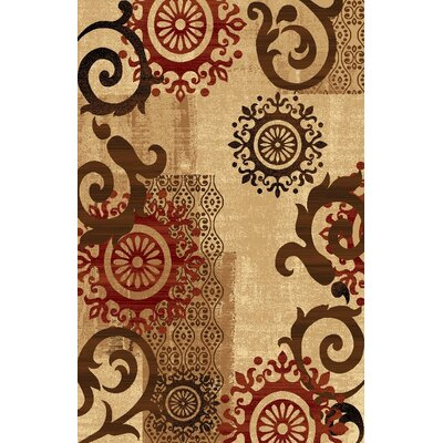 Classen Medallion Ivory Area Rug Rug Size: Rectangle 27 x 4