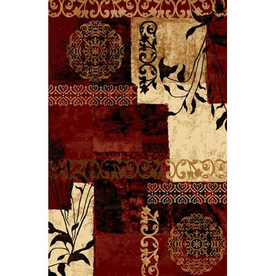 Classen Floral Red Area Rug Rug Size: Rectangle 53 x 73