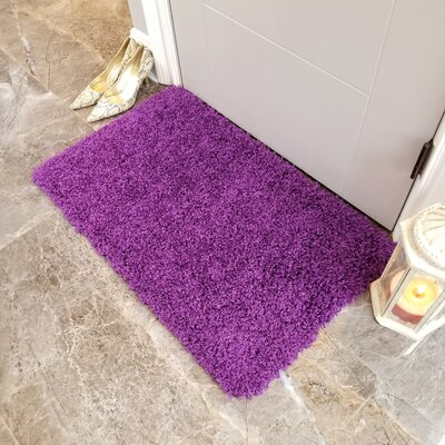 Komar Solid Shag Doormat Color: Purple