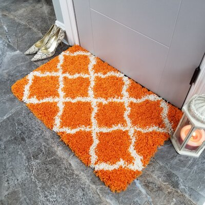 Komar Trellis Shag Doormat Color: Orange