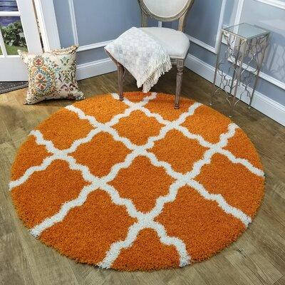 Komar Trellis Orange Area Rug Rug Size: Round 5
