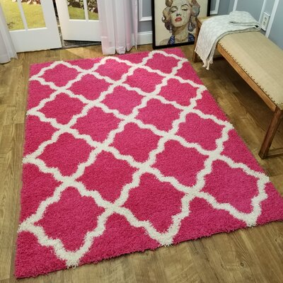 Komar Trellis Pink Area Rug Rug Size: Rectangle 67 x 93