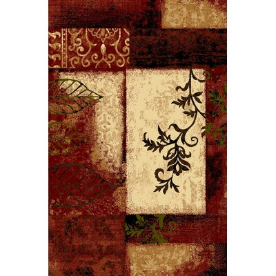 Classen Floral Tile Yellow/Red Area Rug Rug Size: Rectangle 710 x 910