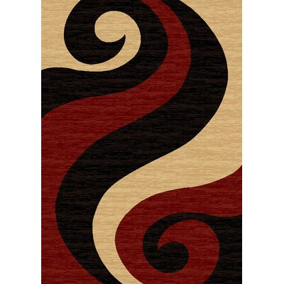 Pilewicz Waves Yellow/Red Area Rug Rug Size: Rectangle 53 x 73