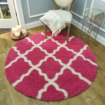 Komar Trellis Pink Area Rug Rug Size: Round 5