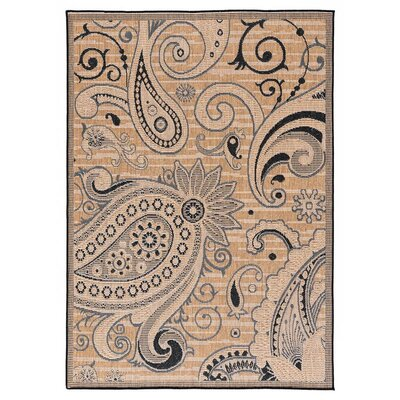 Hinnant Reversible Light Brown/Black Indoor/Outdoor Area Rug Rug Size: Rectangle 53 x 76