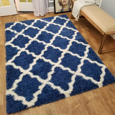 Komar Trellis Blue/White Area Rug Rug Size: Rectangle 67 x 93
