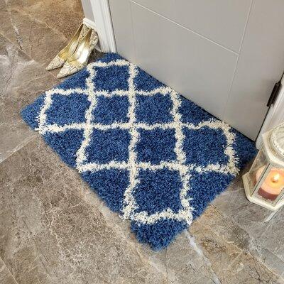 Komar Trellis Shag Doormat Color: Blue