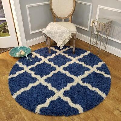 Komar Trellis Blue/White Area Rug Rug Size: Round 5