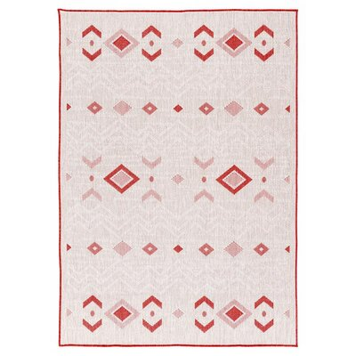 Tseng Reversible Cream/Red Indoor/Outdoor Area Rug Rug Size: Runner 27 x 79